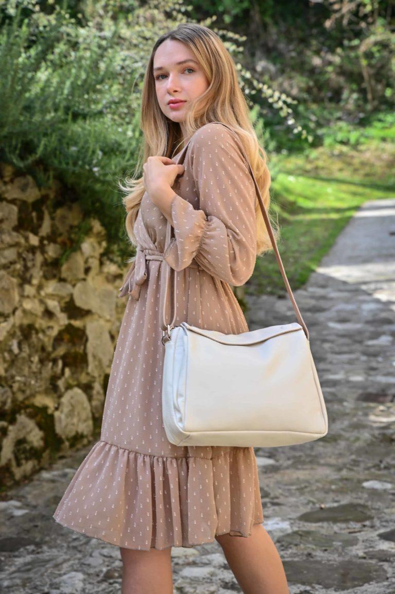 Borsa in vera pelle da donna con tracolla bicolore regolabile comoda e versatile_1