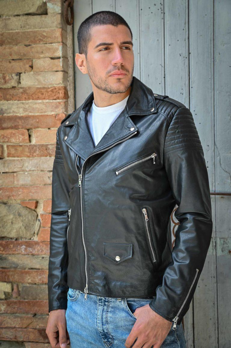 Chiodo biker in pelle colore nero effetto washed (2)