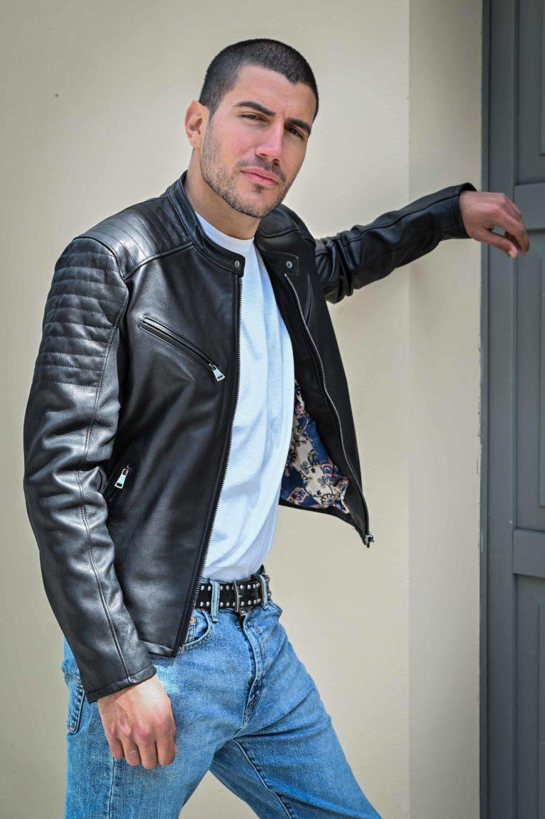 Giacchetto biker in pelle colore nero (2)
